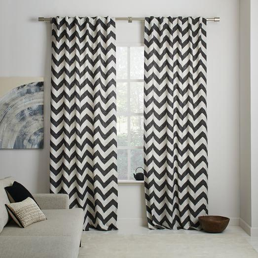 Cotton Canvas Zigzag Curtain Feather Gray - west elm
