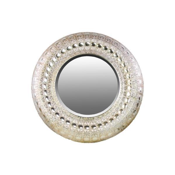 silver round wall mirror