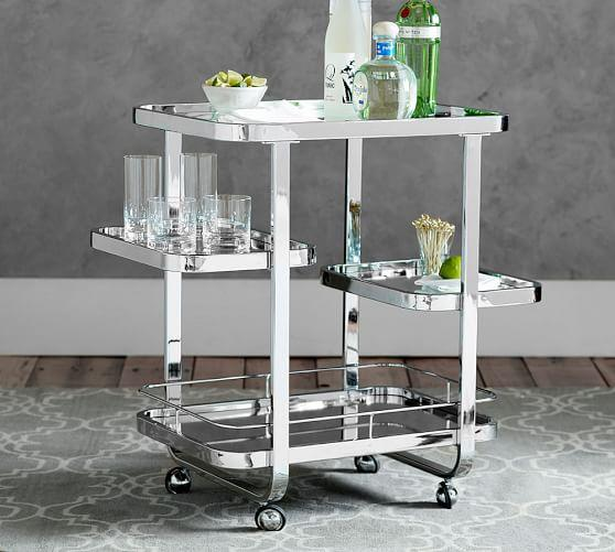 Rounded Edges Silver Bar Cart