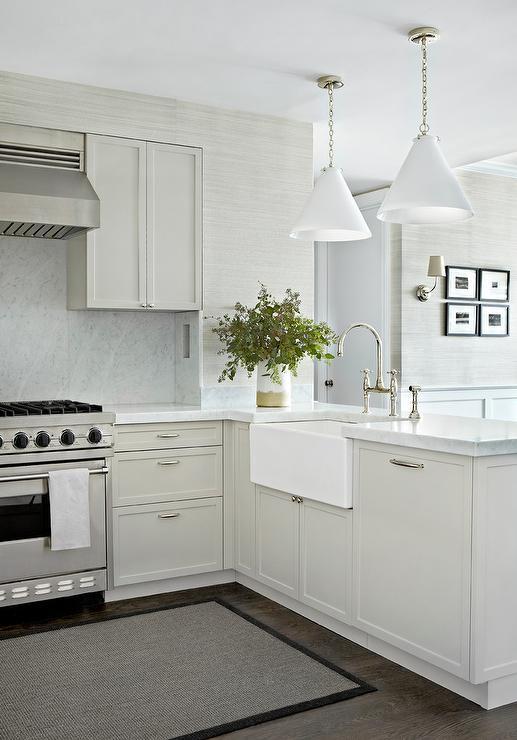 White and Gray Kitchen with Carrera Marble Backsplash - White And Gray Kitchen With Carrera Marble Backsplash