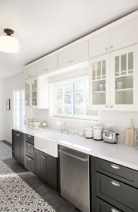 White and black cement kitchen floor tiles design ideas for Cement tiles for kitchen
