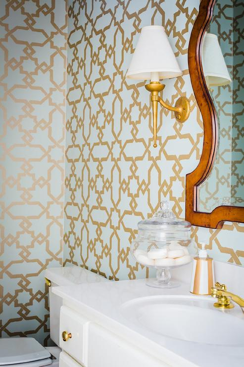 Powder room with gold and blue lotus wallpaper for Blue bathroom wallpaper