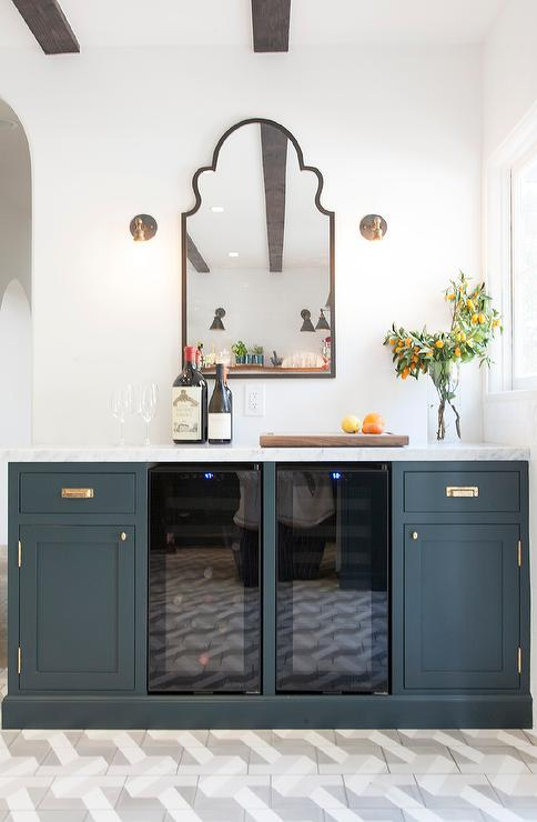 Navy Blue Buffet Cabinets With Aged Brass VIntage Hardware