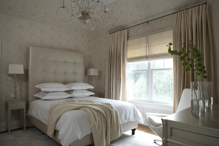 Champagne beige bedroom with tall leather tufted headboard for Beige bedroom ideas
