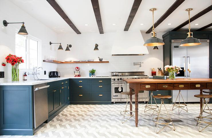 Gorgeous Kitchen Features Navy Blue Cabinets Adorned With Vintage Aged Brass Hardware Topped White Marble Fitted A Stainless Steel Sink And Wall