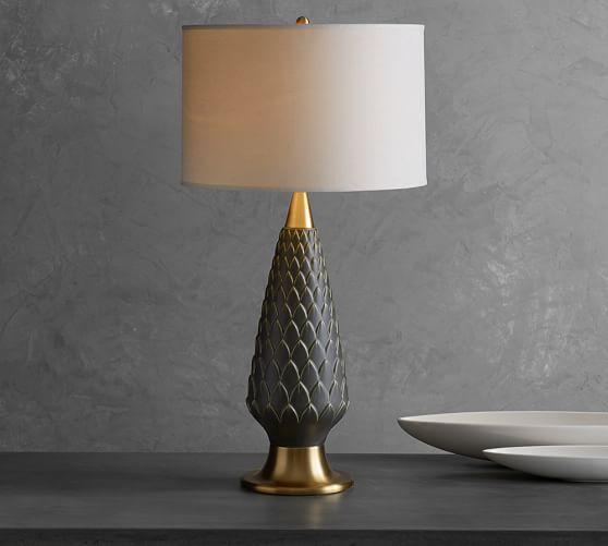 Good Brass And Gray Scallop Design Lamp Base