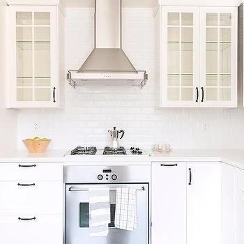 Glass Door KItchen Cabinets With Oil Rubbed Bronze Pulls And Glass Shelves