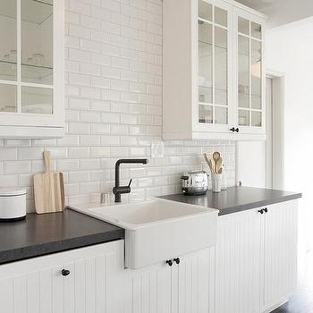 White and black kitchen with glass upper cabinets and for Black beadboard kitchen cabinets