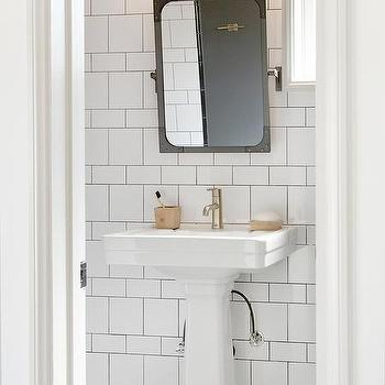 Black And White Bathroom With Large Marble Hex Floor Tiles Transitional B