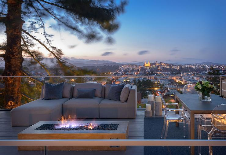 Rooftop Deck With Gray Outdoor Sectional And Fire Pit