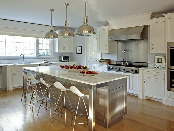Superior Stainless Steel Kitchen Island With Marble Countertops And Onda Barstools