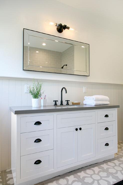 Restoration hardware pharmacy double vanity with cement for White bathroom cabinets with bronze hardware