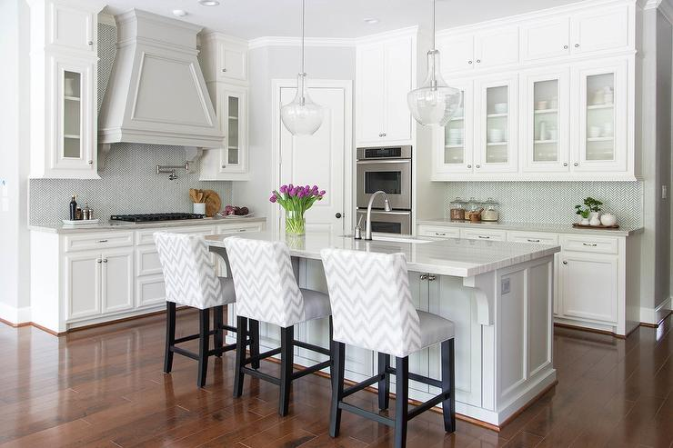 White And Gray Kitchen With Chevron Counter Stools