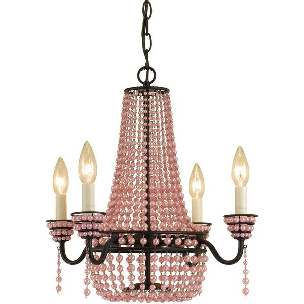 Pink beads mini chandelier mozeypictures Image collections