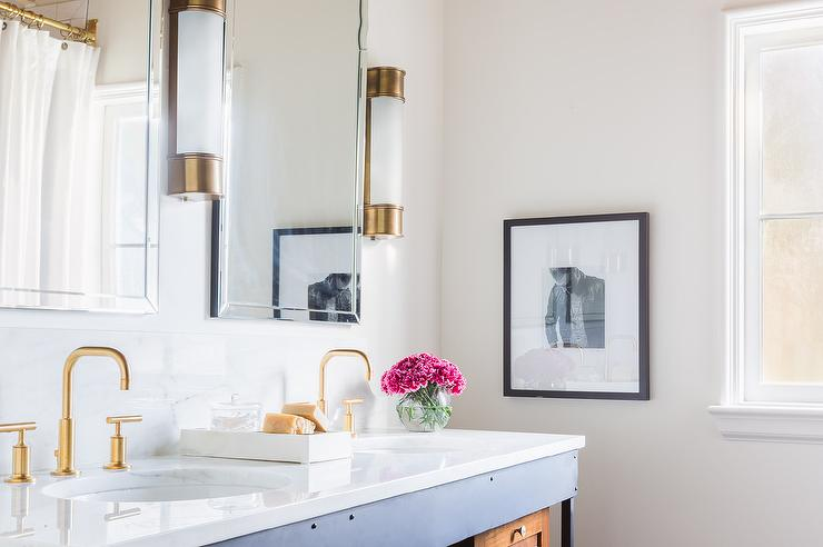 Bathroom Sconces Industrial rosenheck: gold and black bathroom with oxford tall linear wall lights