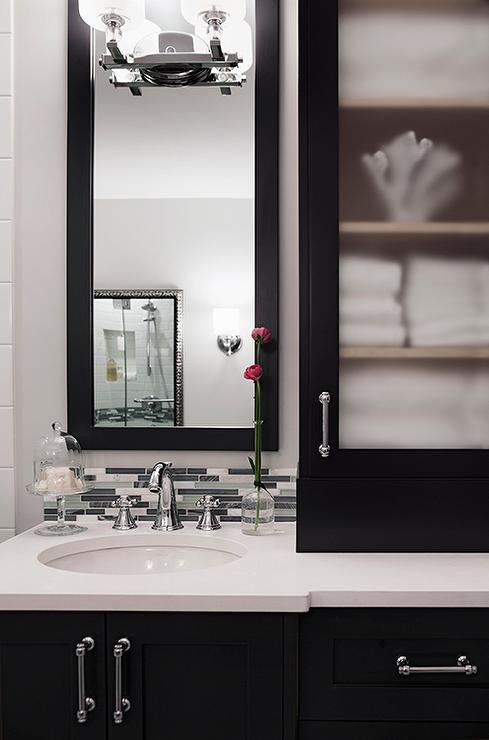 Black Bath Vanity Cabinets With Frosted Glass Doors Transitional