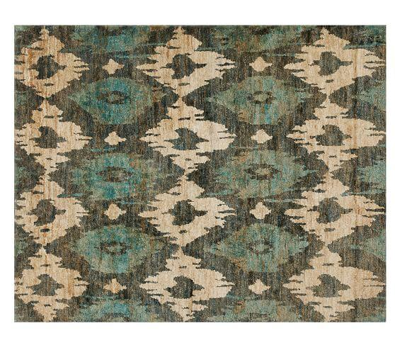 Blue Cream Diamond Pattern Jute Rug View Full Size