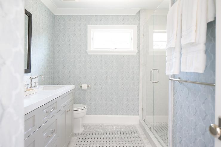 Blue and gray bathroom with light gray washstand and for Gray bathroom wallpaper