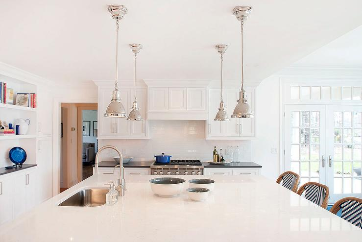 Large Kitchen Island With Four Mini Industrial Pendants - Large kitchen pendants