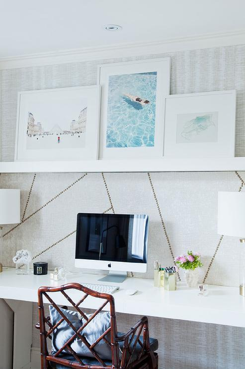 white floating desk with overhead shelf beautiful home office den