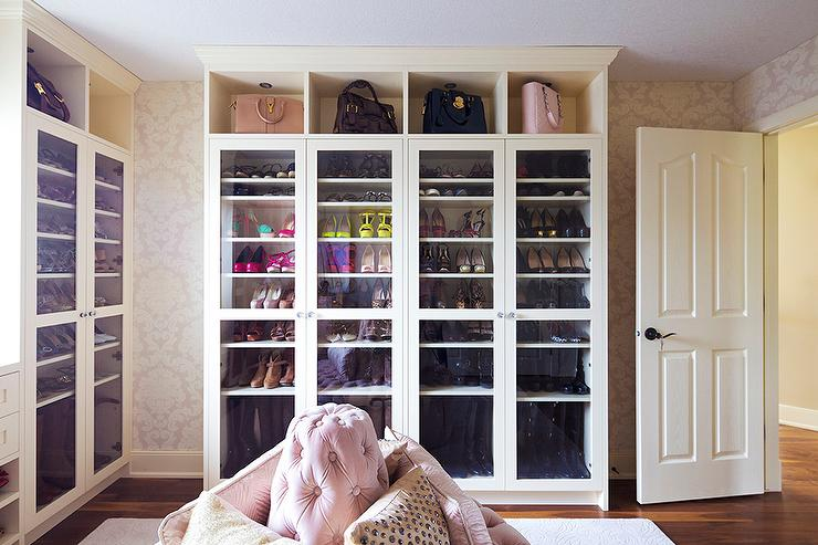 Pink Closet With Glass Door Shoe And Boot Cabinets Transitional