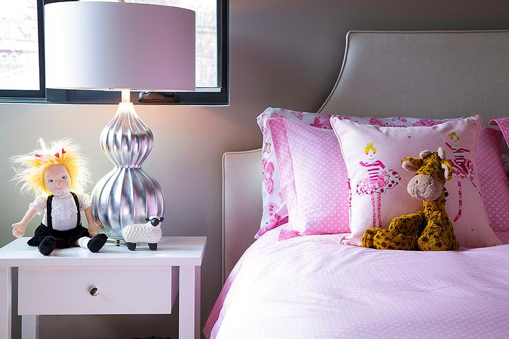 Girls Room With Gray Bed And Pink Bedding View Full Size