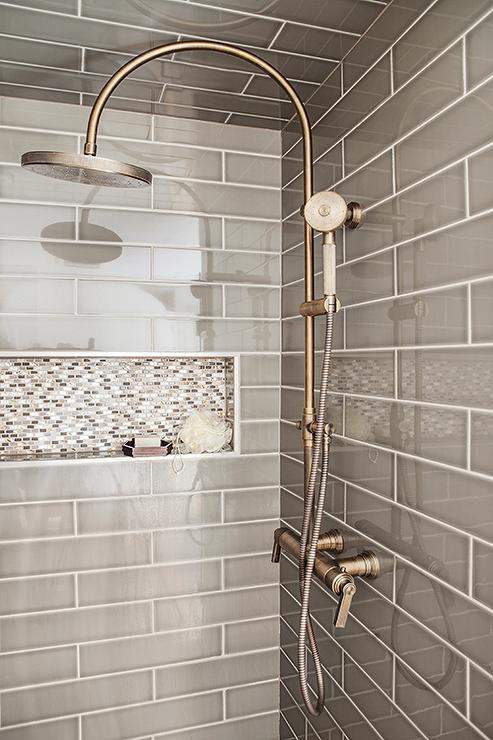 exposed pipe shower . Gray Walk In Shower Boasts Ceiling And Walls Clad Gray Tiles Fitted With  A White Mosaic Tiled Niche As Well Vintage Style Exposed Shower Exposed Plumbing Design Ideas