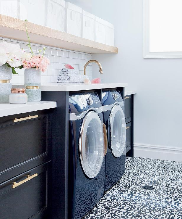 Black Laundry Room Cabinets With Brass Pulls And Lagoon