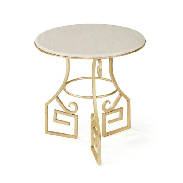 Off white greek key inspired frame table for Off white round table