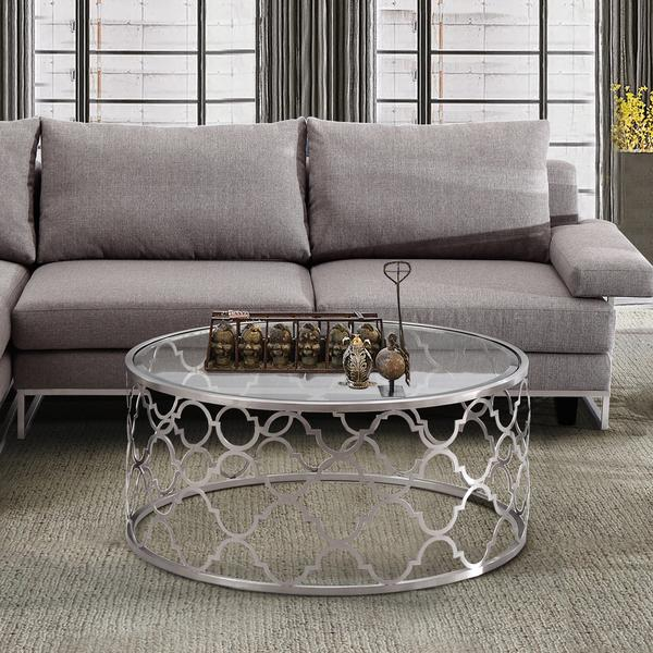 Silver Geometric Laser Cut Coffee Table