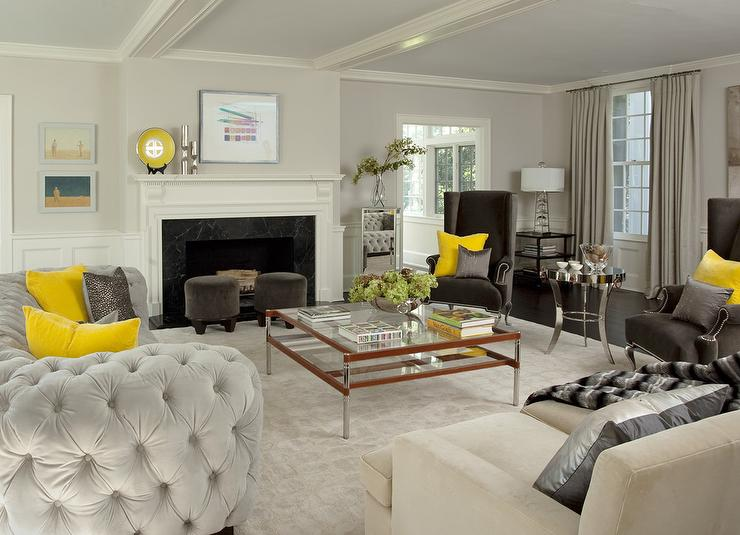 Yellow And Gray Living Room With Light Velvet Tufted Curved Sofa