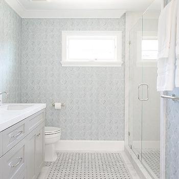 Blue And Gray Bathroom With Light Washstand Marble Basketweave Floor