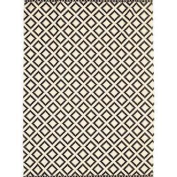 Black And White Diamond Print Rug
