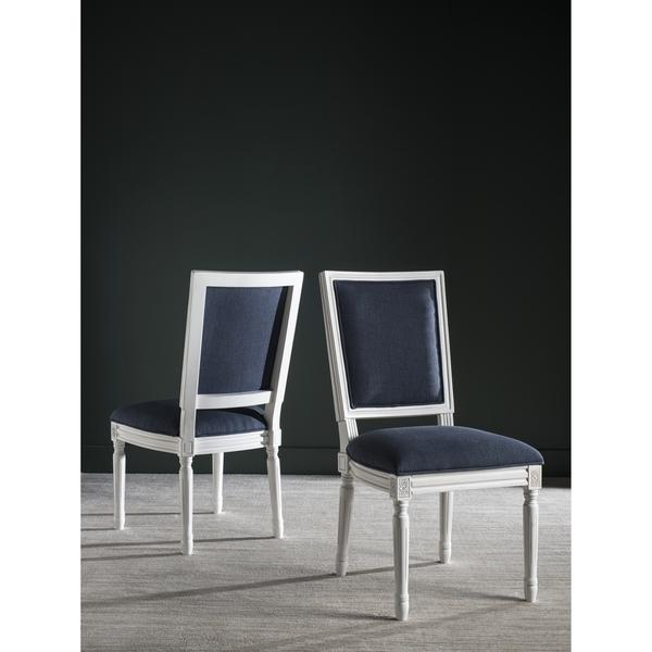 Navy And White Armless Side Chairs