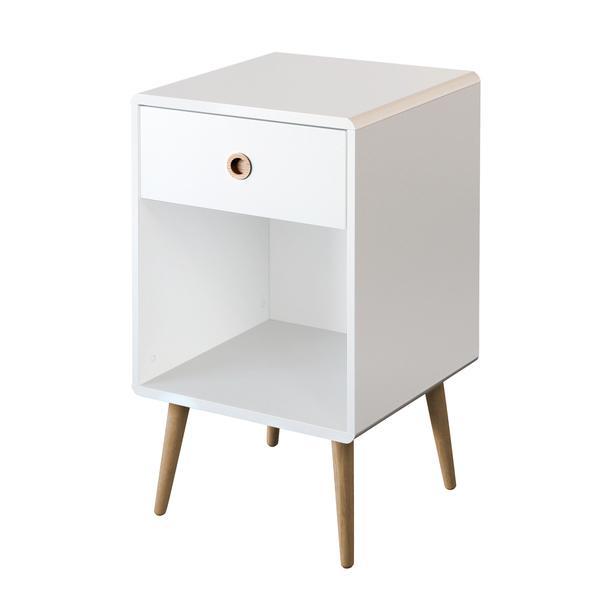 midcentury open shelf white side table