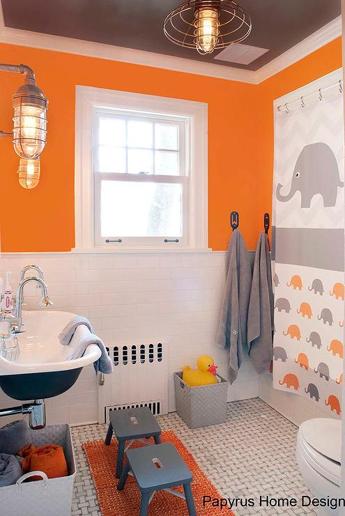 orange and black shower curtain. Orange and Gray Kids Bathroom with Elephant Shower Curtain