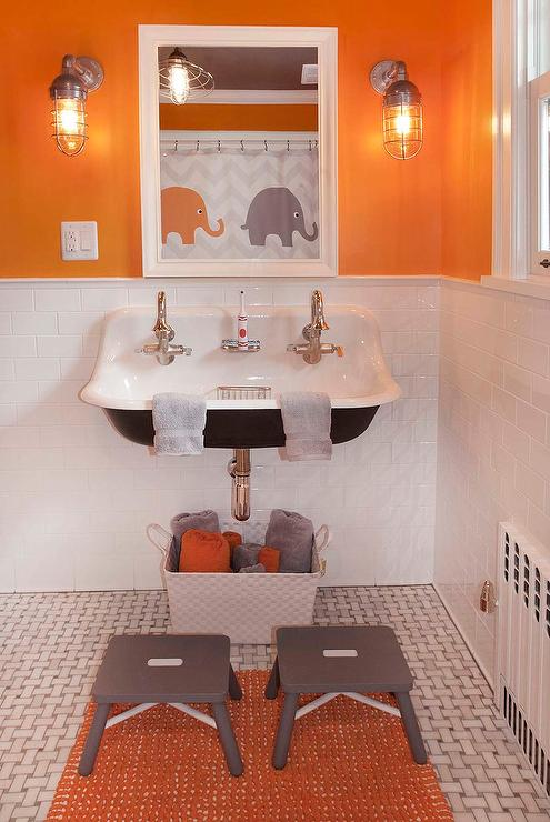 Attirant Orange And Gray Boys Bathroom With Gray Step Stools