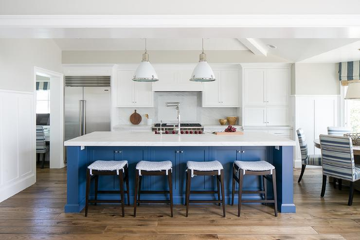 Kitchen Table Cloth With Blue Cabinets