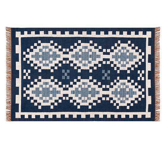 blue and white pixel kilim rug. Black Bedroom Furniture Sets. Home Design Ideas