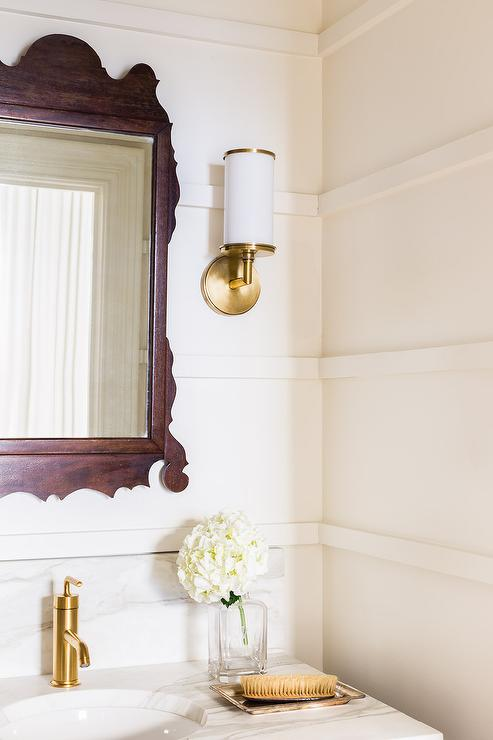 Alyssa Rosenheck Black And Gold Powder Room With Black