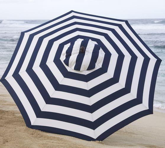 Blue And White Stripe Round Market Umbrella
