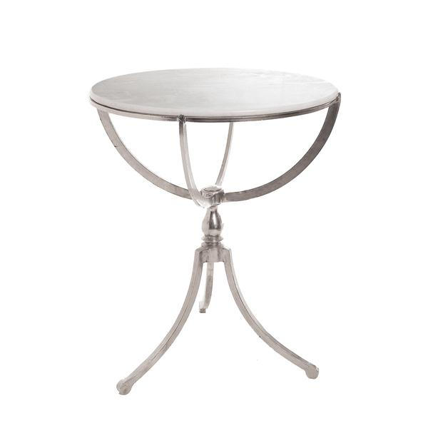 Art Deco Silver Marble Top Round Table