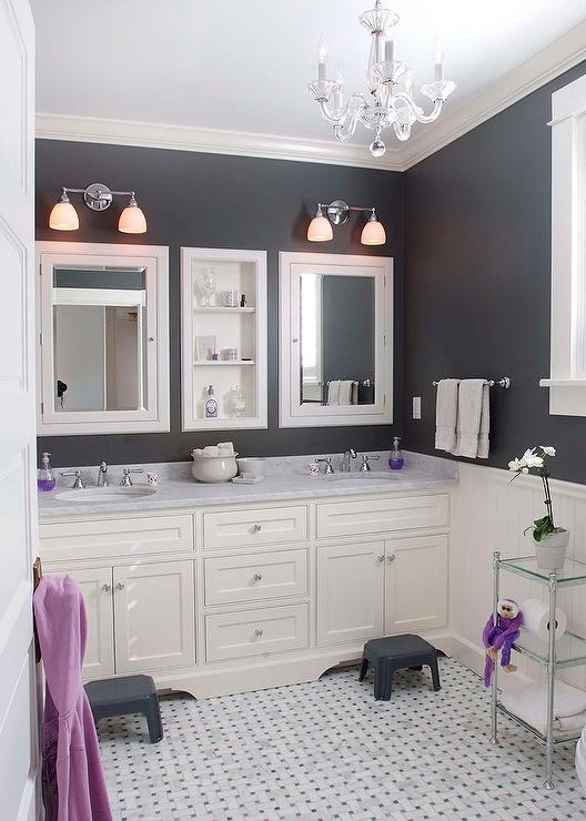 White And Gray Kids Bathroom With Personalized Step Stools Cottage Bathroom