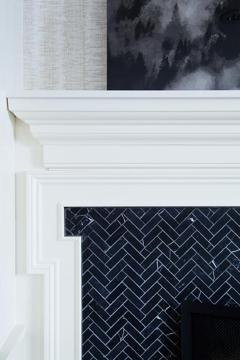 Fireplace tiles design ideas - Black and white fireplace ...