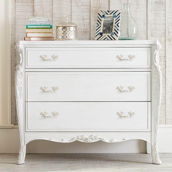 Hand Carved White Vintage Dresser