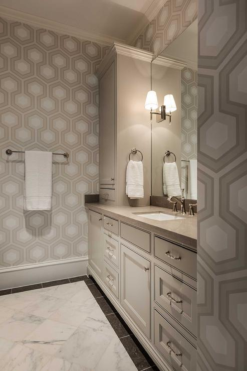 White And Beige Bathroom With Beige Hexagon Wallpaper