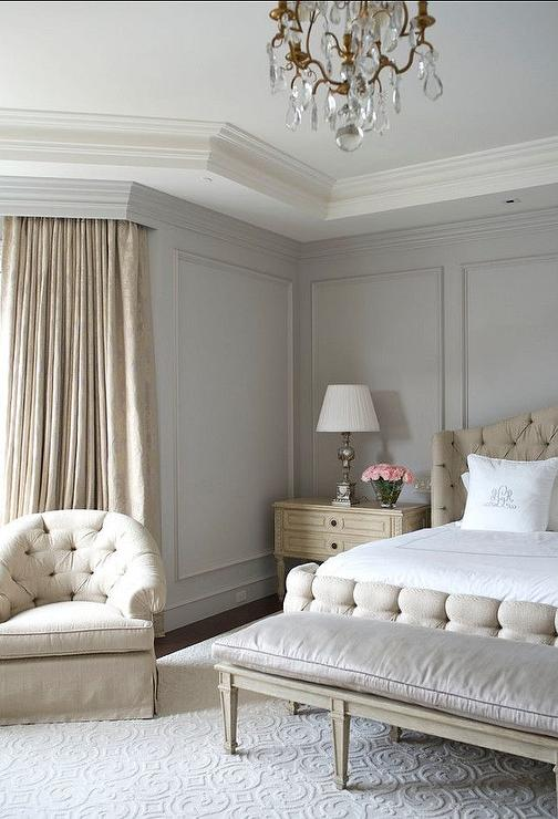 beige and gray bedroom with gray wall moldings french bedroom