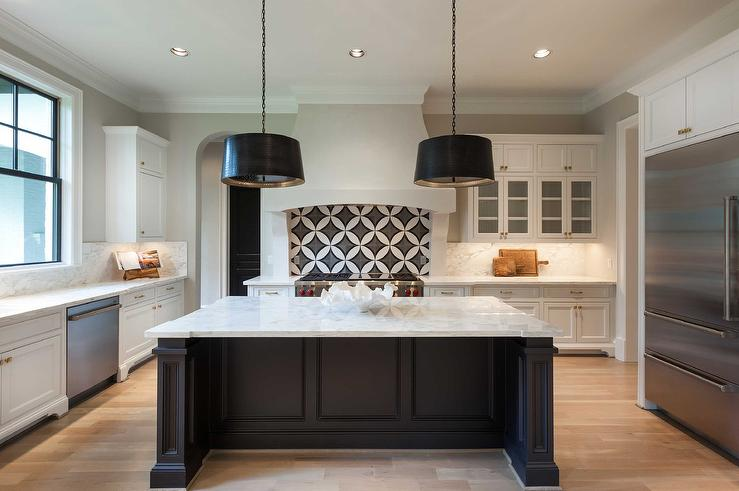 Black And White Kitchen With Arteriors Anderson Iron Pendants - Black kitchen pendants