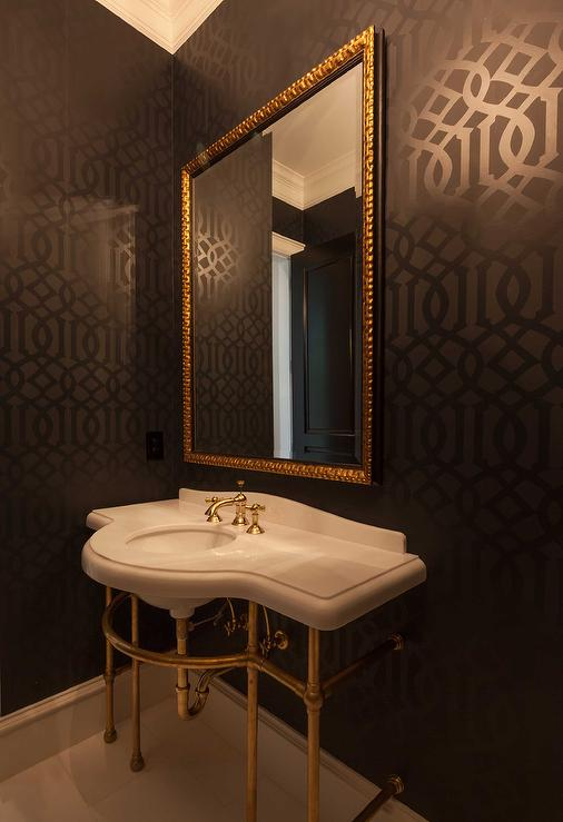 Imperial Trellis Wallpaper Eclectic Bathroom House