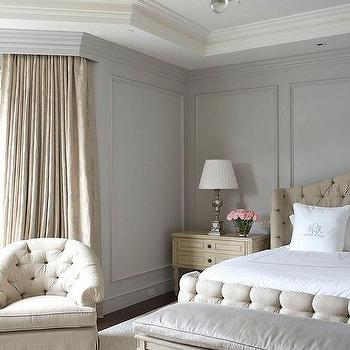 Great Beige And Gray Bedroom With Gray Wall Moldings